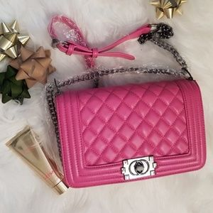 NEW Lambskin Leather Crossbody Quilted Pink Ch…